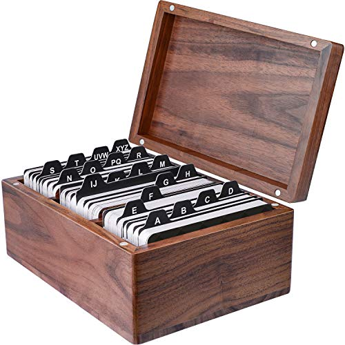 Maxgear Business Card Holder Organizer Wood Business Card Box Business Cards File Storage Holders Index Card Organizers Rolodex Capacity 300 Cards