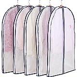 アストロ 洋服カバー マチ付 5枚 スーツサイズ 不織布 ファスナー 透明窓 防虫剤ポケット付き 底までカバー 110-48