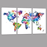 World Map Canvas Art,Vintage map Poster Printed on Canvas with Frame Ready to Hang,Canvas Art,Map of World Canvas Prints Wall Art,Map Poster Artwork (24'x36')