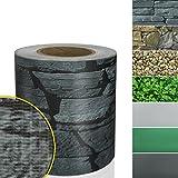 Sichtschutzstreifen PVC | Sichtschutzfolie Gartenzaun oder Balkon | inkl. 20 Befestigungsclips | für Einzel- und Doppelstabmatten geeignet | 19 cm x 35 m | einfarbig oder mit Motiv| Merkur-Optik
