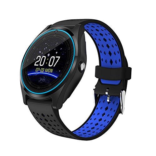 AIYIBEN 1,22 inch V9 Smart Watch, Ultra-dünne Touch Bluetooth Uhr mit Kartensteckplatz Synchronisation Benachrichtigung über Gesundheit Smart Watch (Schwarz + blau)
