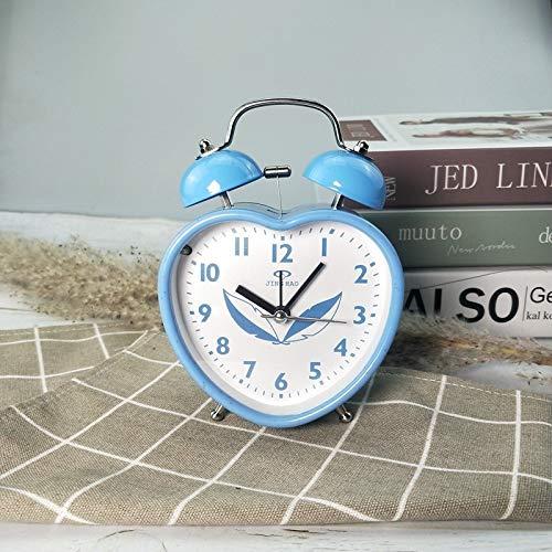 LZDD Reloj Decorativo Pastorales 3,5 Pulgadas de Colores Dobles Reloj de la mesilla de Alarma de Reloj de Campana de Alarma de los niños (Color : D)