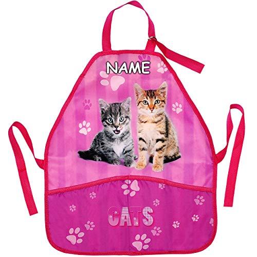 Preisvergleich Produktbild alles-meine.de GmbH Kinderschürze / Schürze - Katze - Katzenbabys - inkl. Name - größenverstellbar - mit 2 Taschen - mitwachsend - universal / beschichtet & wasserdicht - für Mäd..
