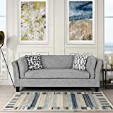 Casa Andrea Milano Linen Fabric Sofa Couch | Modern Mid-Century Lounge Sofa, Upholstery Fabric Lounger for Living Room Furniture, Club Style Upholstered Sofa with Detachable Foam Cushions, Light Grey
