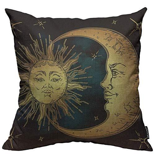 Boho Chic Tattoo Throw Pillow Cover Golden Sun Crescent Moon and Stars Over Blue Black Sky Funda de Almohada Cuadrada Decorativa para el hogar, Dormitorio, Sala de Estar, cojín, 18 x 18 Pulgadas
