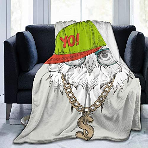 MEJX Throw Blanket,The Poster With The Owl Portrait In Hip-hop Hat,Microfiber All Season Bed Couch,50' x 60'
