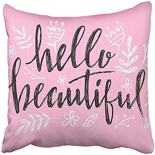Funda de Almohada Decorativa de 18 x 18 Pulgadas, poliéster Hola, Letras Hermosas con Frase de caligrafía de corazón para bebés, cumpleaños, blogs de Belleza, cojín, Dos Lados, Funda de almoha