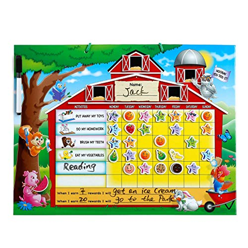 ZazzyKid Rewards Chart and Responsibility Chore Chart for Kids, Encourages and Reinforces Good Behavior, Includes Magnetic Erasable Marker + 15 Chores + 80 Thick Rewards Magnets