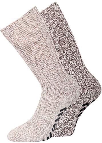 ABS Socken Antirutsch Socken Noppensocken Stoppersocken Damen Herren 2 Paar, 35-38 39-42 43-46 (43-46, 2 Paar beige/braun)