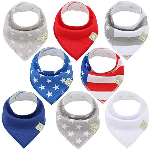Organic Baby Bandana Drool Bibs - Bandana Bibs for Boys, Girls by KeaBabies- Super Absorbent Bandana Drool Bibs - Teething Bibs - Organic Cotton Baby Bibs for Infant, Toddler - 8 Pack (US of A)