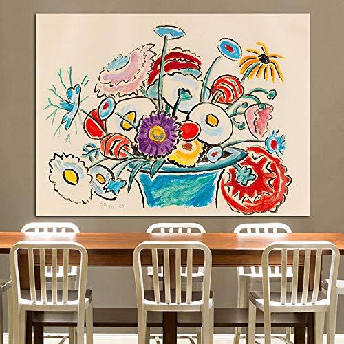 N / A Rahmenlose Malerei Blumen in Korbmalerei Wanddekoration nach Hause StilllebenZGQ7205 60x75cm
