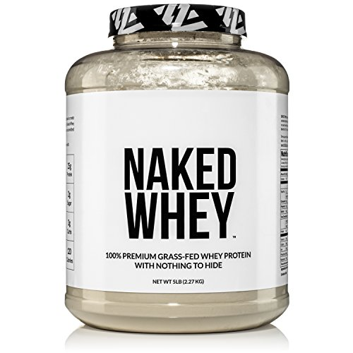 Naked WHEY 5LB 100% Grass Fed Unflavored Whey Protein Powder - US Farms, Only 1 Ingredient, Undenatured - No GMO, Soy or Gluten - No Preservatives - Promote Muscle Growth and Recovery - 76 Servings