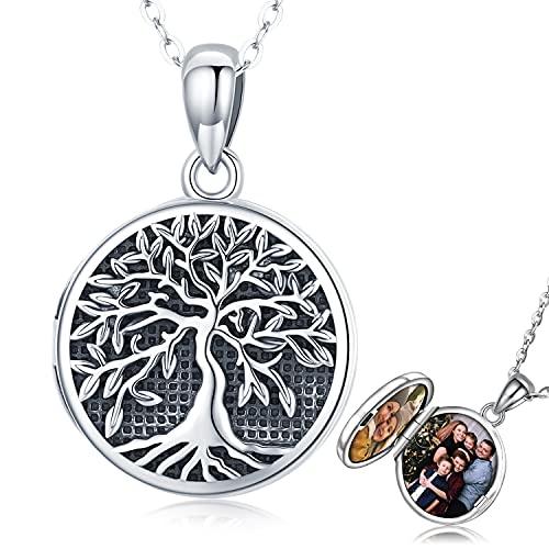 Collare Medallón Foto para Mujer, Colgante Foto Plata de Ley 925, Collar...