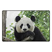 GORIRA(ゴリラ) ジロジロ見る パンダ かわいい ラグ カーペット 丸洗い 折り畳み可能 滑り止め付き 抗菌防臭 軽量 絨毯 ホットカーペット対応 約51x79cm