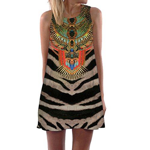 Eleery Damen armlos Schwarz Weiss Welle Kleid Afrika Style Mini Bluse Kleider (M)