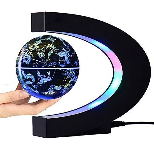 """FUGEST Magnetic Levitation Floating Globe World Map with C Shape Base (Blue 4"""" Constellations Globe)"""