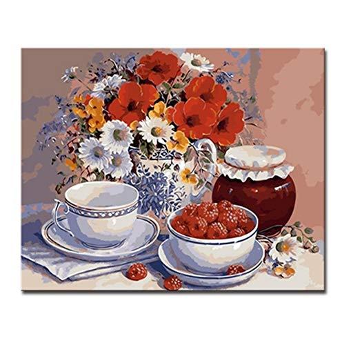 Pintura Al Óleo De Diy Por Números Kits Para Colorear Dibujo Taza De Café Bocadillos Florero Lienzo De Flores Sala De Estar Decoración Arte De La Pared Sin Marco 40x50cm