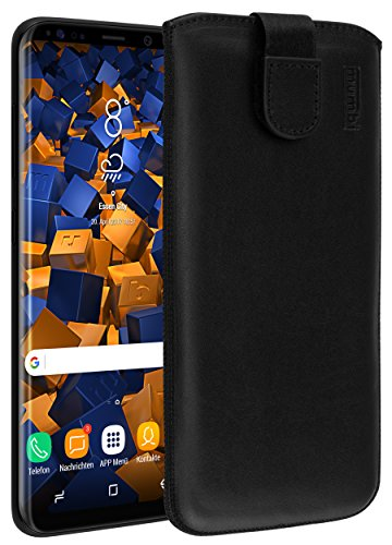 mumbi Echt Ledertasche kompatibel mit Samsung Galaxy S8 Hülle Leder Tasche Case Wallet, schwarz