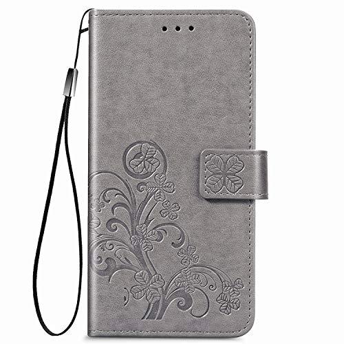 Hülle für Oppo Realme C15/C12/Narzo20 Handyhülle Schutzhülle Leder PU Wallet Bumper Lederhülle Ledertasche Klapphülle Klappbar Magnetisch für Oppo Realme C15/C12/Narzo20 - ZISD070346 Grau