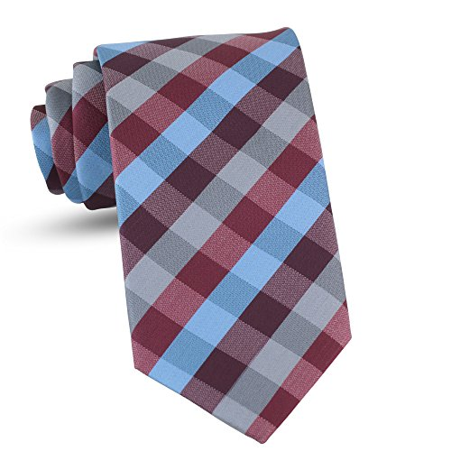 Handmade Plaid Ties For Men Skinny Woven Burgundy Slim Gingham Mens Ties: Thin Tie & Necktie,...