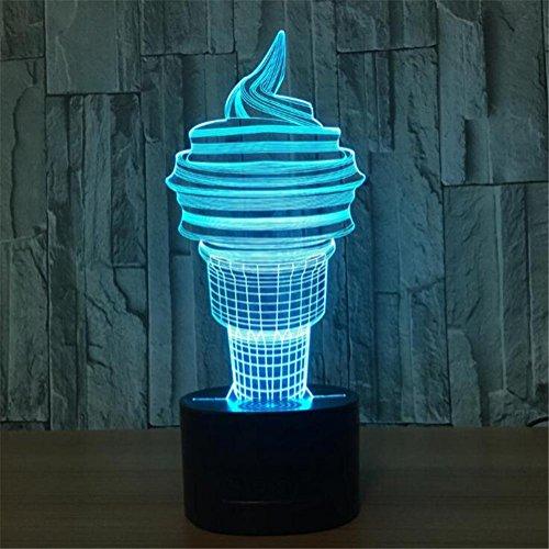 3D Nuit Lumière Visualisation Glow 7 Changement de Couleur USB Bouton Tactile Et Intelligent Télécommande Bureau Éclairage de Table Beau Cadeau Décorations de Bureau à Domicile Jouets (Crème Glacée)