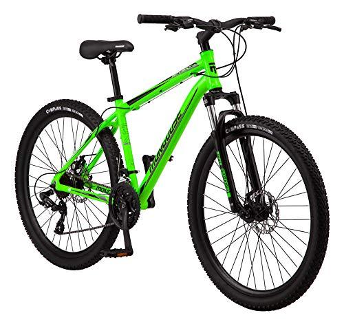 Mongoose Switchback Trail Adult Mountain Bike, 21 Speeds, 27.5-Inch Wheels, Mens Aluminum Large Frame,Neon Green, Model Number: R8056LGAZ