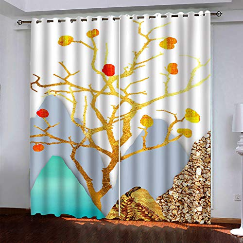 YUNSW 3D Lotus Pattern Curtains, 2-Piece Perforated Curtains, Kitchen Bedroom Living Room Garden Curtains
