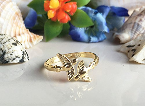 Branch Bird Ring - Love Birds Ring - Gold Ring - Stacking ring - Animal Ring - Adjustable Ring - Minimalist Jewelry