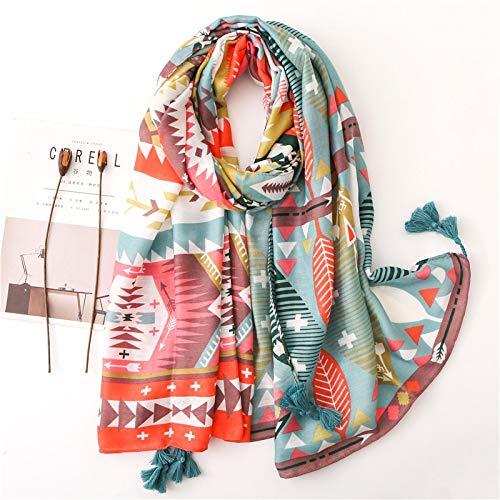 wsxcfyjh Bufanda Las Mujeres De Moda Geométrica Borla Chal Bufanda De Impresión Suave Abrigo Estola Foulards Hijab