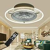 RDFlame 56 cm Ventilatore da soffitto con luce e telecomando, 7 pale, 3 velocità del vento e 3 temperatura di colore regolabile, funzione timer, silenzioso