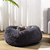 Hollypet Donut Cat Bed Calming Dog Bed, Plush Round Pet Bed Warm Cave Nest Sleeping Bed Puppy House for Cats and Small Dogs, Dark Gray (64 * 64 * 18cm