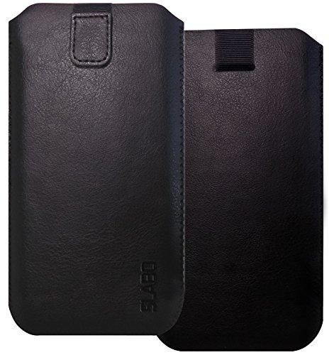 Slabo Schutzhülle für Smartphones Schutztasche Handyhülle Case mit Magnetverschluss aus Kunstleder - SCHWARZ | Black