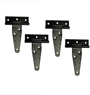 T&B T-Strap Light Duty Shed Hinge Gate Strap Hinge Door Barn Gates Hinges Black Wrought Hardware Iron Rustproof 4PCS (4inch)