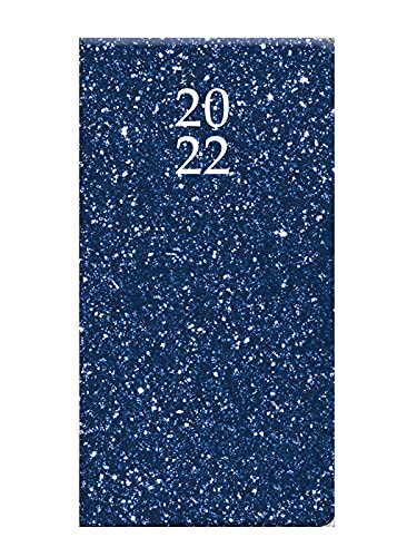 2022 Blue Glitter Hard Cover Slim Pocket Diary Planner Week to View