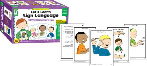 Key Education Let's Learn Sign Language Learning Cards—PreK-Grade 2 Illustrated American Sign Language Flashcards With ASL Fingerspelling and Common Signs (160 pc)