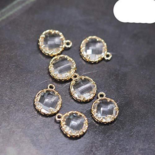 Juego de 4 cuentas colgantes de cristal transparente chapados en oro para pendientes y cimentaciones