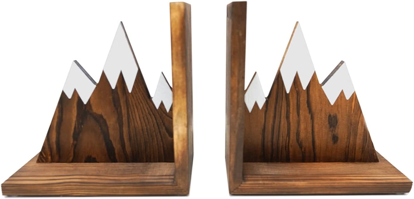 Cheap mail order sales IT'S HAPPY TIME Mountain Spring new work Wooden Bookends a - Duty Heavy Nonslip