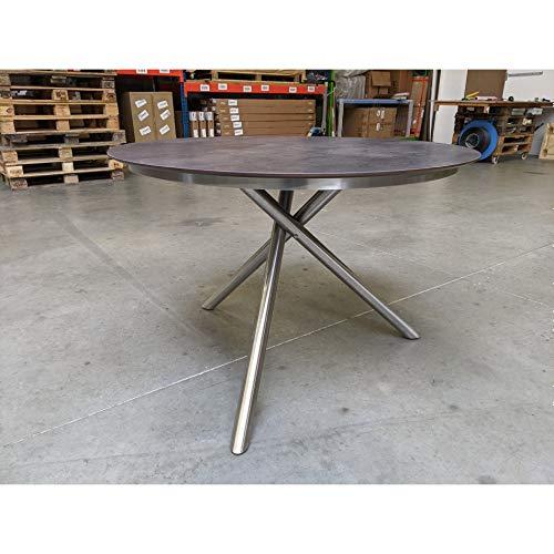 Ploß Carlos Gartentisch, rund 110 cm, für 3?4 Personen, Edelstahlgestell, HPL-Tischplatte
