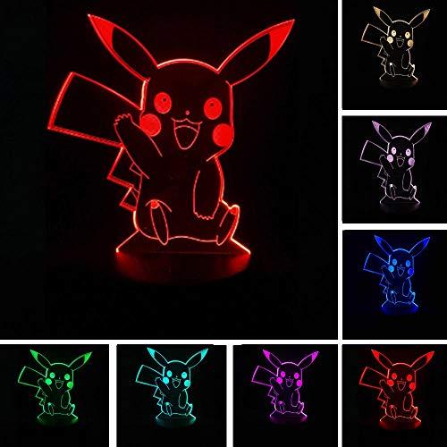 Luz nocturna en 3D, lámpara de cabecera con controles inteligentes recargables, 7 modos de cambio de color, un regalo único para los niños, dormitorio infantil, iluminación Pokachu Pokemon. D