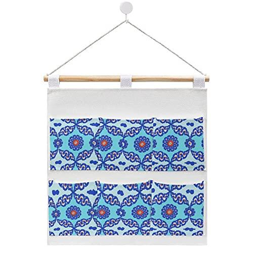 Bolsa de almacenamiento para colgar en la pared, diseño otomano de azulejo turco azul Iznik bolsas de almacenamiento en la puerta y armario con 6 bolsillos para familia, baño, dormitorio, cocina