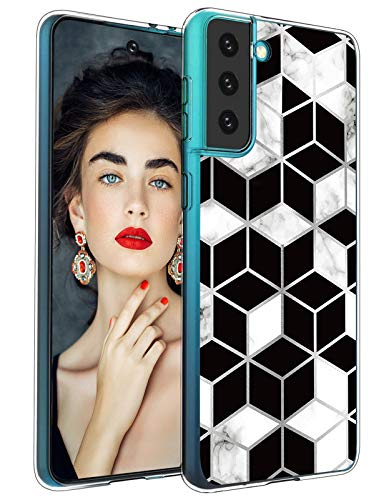 Opplei S21 Silicone Case Compatible with Samsung Galaxy S21 5G Case Phone Cover Clear Bumper TPU Soft Protective Case Glitter Marble Design Transparent Ultra Thin Original Case for Samsung S21 Shell
