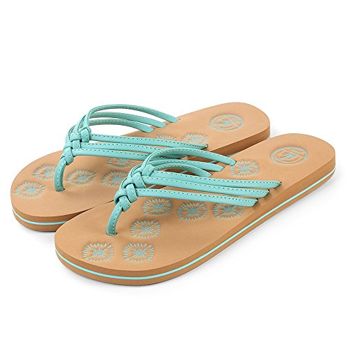 Aerusi Women's Braid Thong Sandals Flip Flops (Size 8, Aqua)