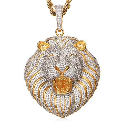 Dxnbp Hip Hop Iced out 3D Lion Head Colgante 14k Chapado En Oro Lab Diamond Micro Pave Collar De Circonita Cúbica con Cadena De Cuerda De 24 Pulgadas para Hombres, Mujeres
