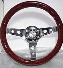 """Joe's Auto Parts 106 Wood Mahogany 13"""" Steering Wheel Chrome Center With Holes"""
