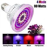 Pflanzenlampe 80W Vollspektrum 4 Modus LED Wachstumslampe E27 Pflanzenleuchte 108Leds Wachstum Pflanzenlicht für Zimmerpflanzen Gemüse und Blumen [Energieklasse A+++]