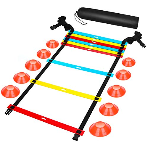 speed ladders FENGDU Agility Ladder Speed Training Equipment, 9 Rung 13FT Sports Agility Ladders Set Workout Ladder with 10 Disc Cones for Soccer, Speed, Football Fitness Feet Training