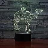 Noël Dromadaire Chameau Nuit Lampe 3D Illusion Décoratif Lumière Enfant Enfants Fille Cadeau Animaux Chameau Bureau Led Veilleuse Décor De Chevet