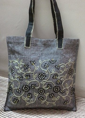 Panigha India Hand embroidered carry all/top handle tote bag in black textured cotton fabric