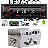Autoradio Radio Kenwood KDC-BT430U - Bluetooth | Spotify | CD/MP3/USB - Einbauzubehör - Einbauset für VW Polo 9N - JUST SOUND best choice for caraudio