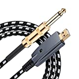 USB Guitar Cable,3.3 ft Guitar to USB Cable,1/4 Guitar to USB PC Link Recording Adapter,Bass Electric Guitar Real Tone Cable for RockSmith